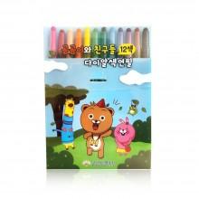 보성 다이알 색연필 곰곰이와 친구들 12색 샤프식 돌돌이